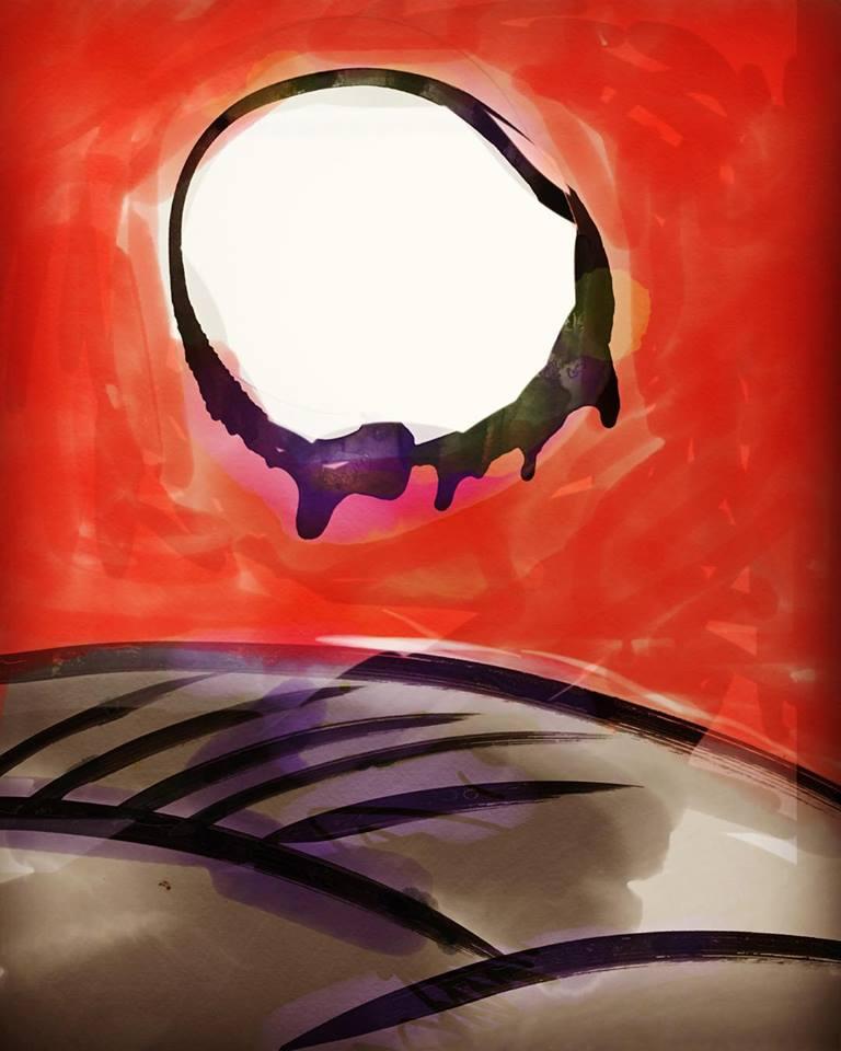 月と薄の絵