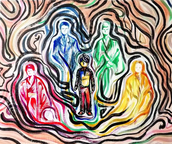 先祖の助けを得る青年